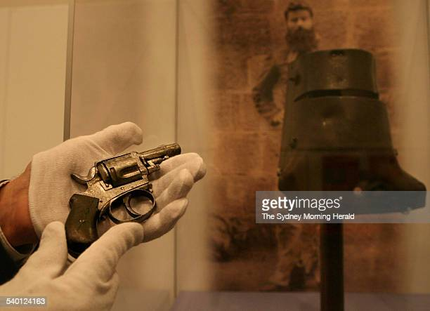 Tom Thompson with Kate Kelly's pistol that has just come to light after 120 years and in about to be auctioned at the State Library on November 5 The...