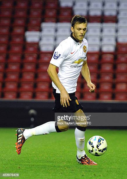 Tom Thorpe of Manchester United in action during the Barclays Premier League Under 21 fixture between Liverpool and Manchester United at Anfield on...