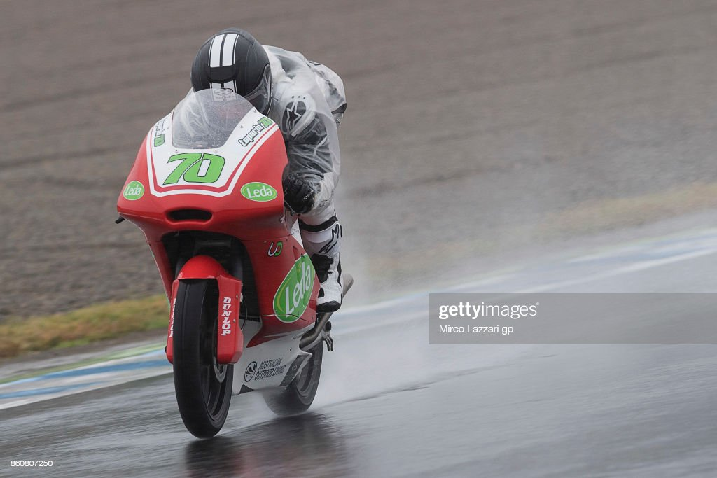 Tom Toparis of Australia Cube Racing heads down a straight during the MotoGP of Japan - Free Practice at Twin Ring Motegi on October 13, 2017 in Motegi, Japan.