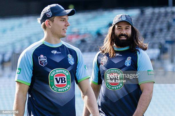 Tom Trbojevic and Aaron Woods look on during the New South Wales Blues State of Origin captain's run at ANZ Stadium on July 12 2016 in Sydney...
