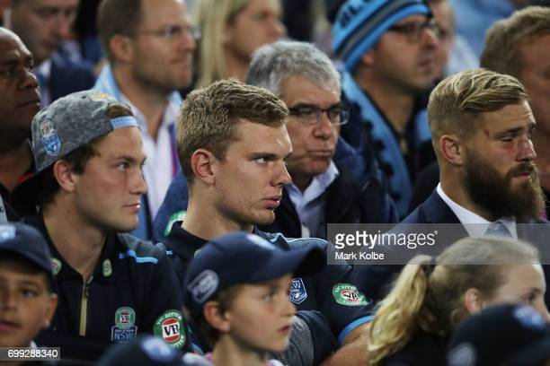 Tom Trbojevic of the Blues looks on during game two of the State Of Origin series between the New South Wales Blues and the Queensland Maroons at ANZ...