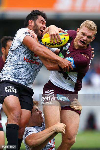 Tom Trbojevic of the Sea Eagles is tackled by Konrad Hurrell of the Warriors during the 2016 Auckland Nines match between the New Zealand Warriors...