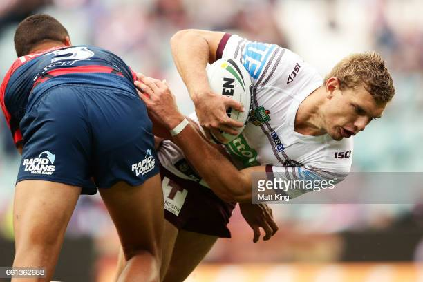 Tom Trbojevic of the Sea Eagles is tackled during the round five NRL match between the Sydney Roosters and the Manly Sea Eagles at Allianz Stadium on...