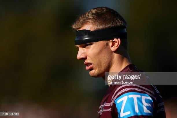 Tom Trbojevic of the Sea Eagles looks on before the round 19 NRL match between the Manly Sea Eagles and the Wests Tigers at Lottoland on July 16 2017...