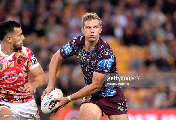 Tom Trbojevic of the Sea Eagles looks to pass during the round 10 NRL match between the Manly Sea Eagles and the Brisbane Broncos at Suncorp Stadium...