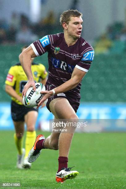 Tom Trbojevic of the Sea Eagles looks to pass the ball during the round 17 NRL match between the Manly Sea Eagles and the New Zealand Warriors at nib...