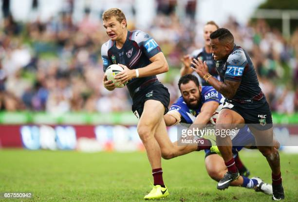Tom Trbojevic of the Sea Eagles makes a break during the round four NRL match between the Manly Warringah Sea Eagles and the Canterbury Bulldogs at...