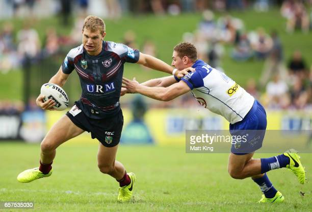 Tom Trbojevic of the Sea Eagles takes on the defence during the round four NRL match between the Manly Warringah Sea Eagles and the Canterbury...