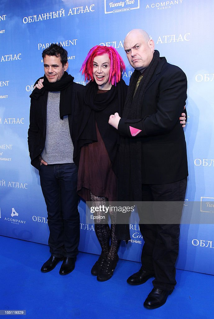 Tom Tykwer, Lana Wachowski and Andy Wachowski arrive at the premiere of Warner Bros. Pictures' 'Cloud Atlas' in Oktyabr cinema hall on November 1, 2012 in Moscow, Russia.