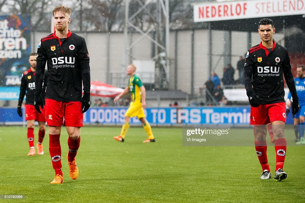 Tom van Weert of Excelsior, Khalid Karami of Excelsior during the Dutch Eredivisie match between Excelsior Rotterdam and ADO Den Haag at Woudenstein stadium on February 14, 2016 in Rotterdam, The Netherlands