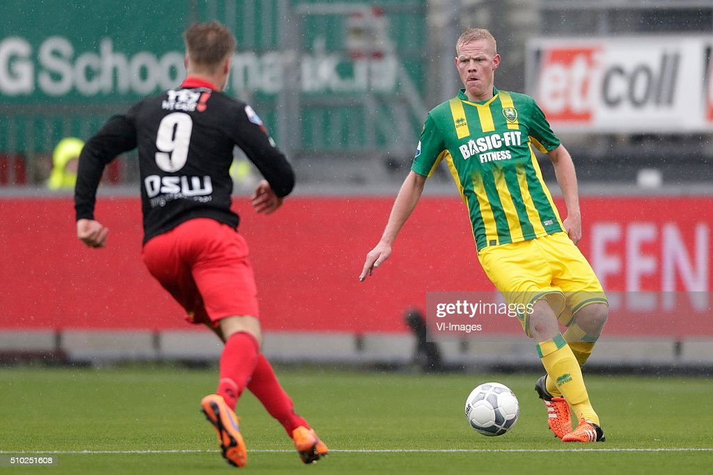 Tom van Weert of Excelsior Rotterdam, Tom Beugelsdijk of ADO Den Haag during the Dutch Eredivisie match between Excelsior Rotterdam and ADO Den Haag at Woudenstein stadium on February 14, 2016 in Rotterdam, The Netherlands