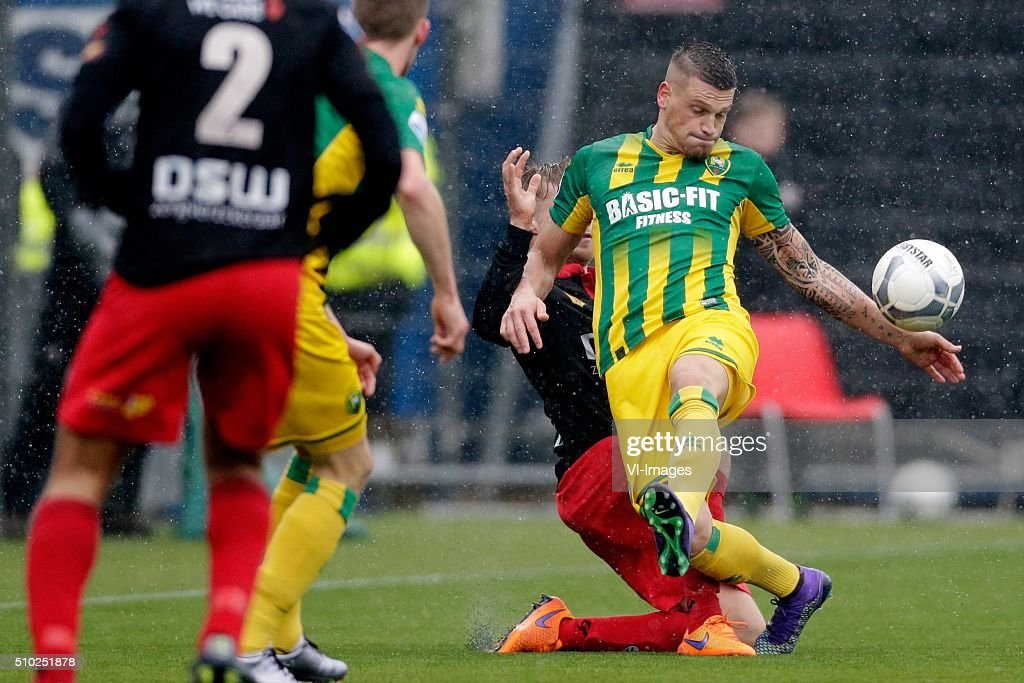 Tom van Weert of Excelsior Rotterdam, Vito Wormgoor of ADO Den Haag during the Dutch Eredivisie match between Excelsior Rotterdam and ADO Den Haag at Woudenstein stadium on February 14, 2016 in Rotterdam, The Netherlands
