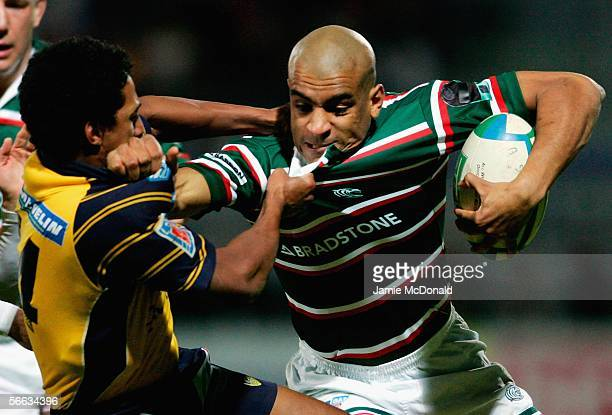 Tom Varndell of Leicester is tackled by Breyton Paulse of Clermont Auvergne during the Heineken Cup Pool 3 match between ASM Clermont Auvergne and...
