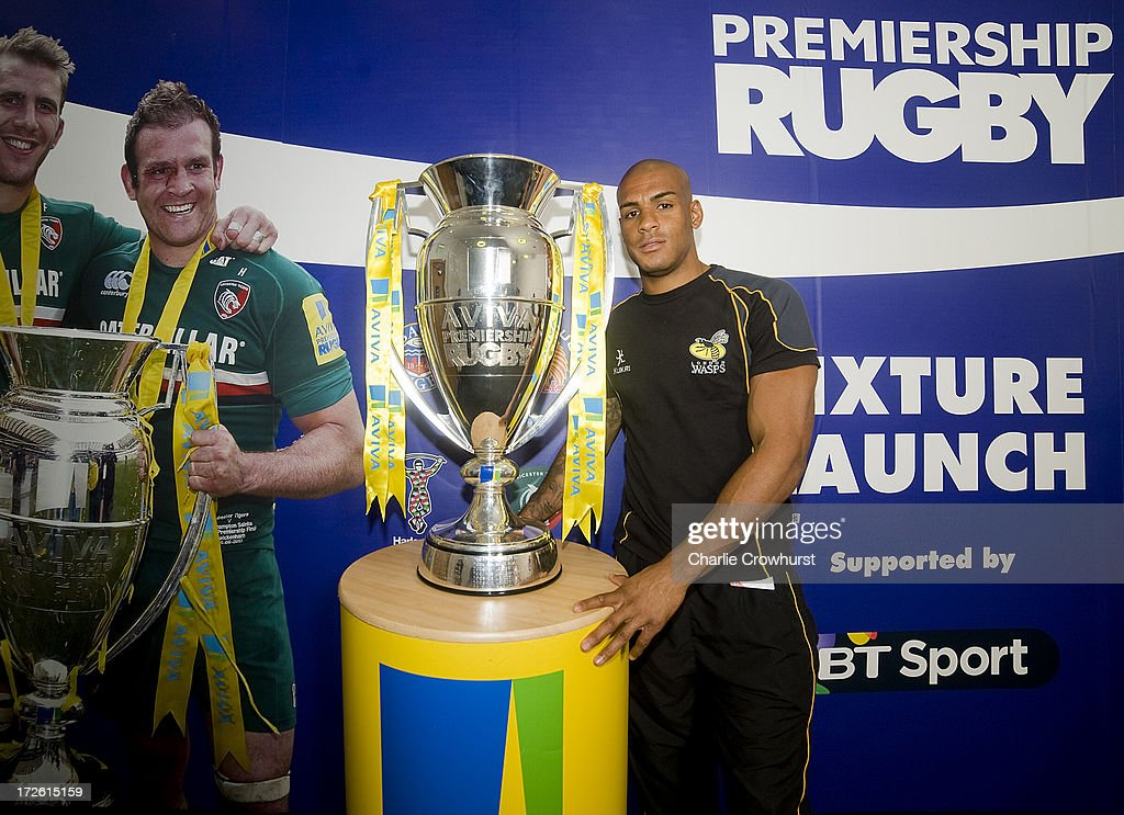 Tom Varndell of London Wasps stands with the Aviva Premiership Trophy during the 2013-14 Aviva Premiership Rugby Season Fixtures Announcement at The BT Tower on July 4, 2013 in London, England.