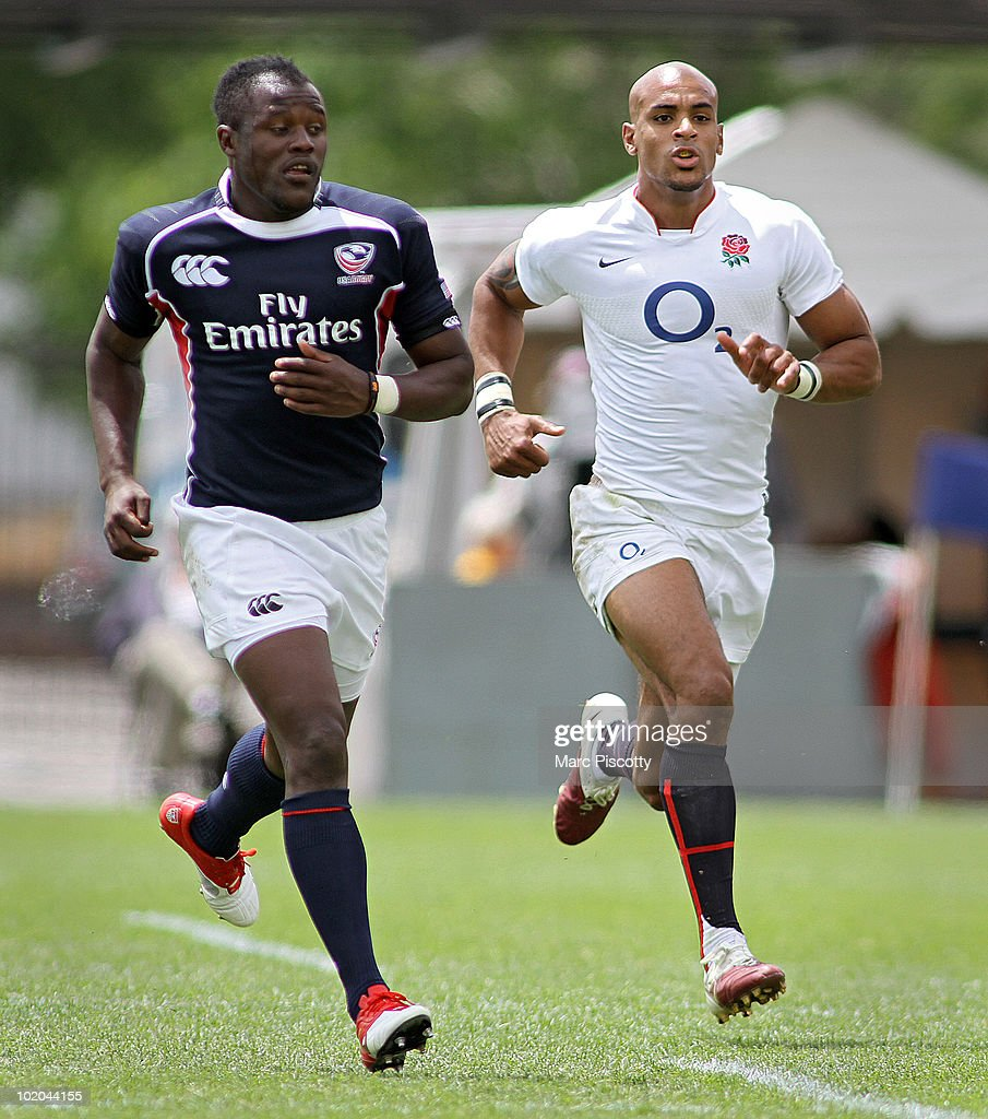 <a gi-track='captionPersonalityLinkClicked' href=/galleries/search?phrase=Tom+Varndell&family=editorial&specificpeople=561563 ng-click='$event.stopPropagation()'>Tom Varndell</a> #11 of the England Saxons and <a gi-track='captionPersonalityLinkClicked' href=/galleries/search?phrase=Takudzwa+Ngwenya&family=editorial&specificpeople=4146910 ng-click='$event.stopPropagation()'>Takudzwa Ngwenya</a> #14 of the United States chase a ball down the pitch in their Churchill Cup match in the second half at Infinity Park June 13, 2010 in Glendale, Colorado. The England Saxons won the match 32-9.