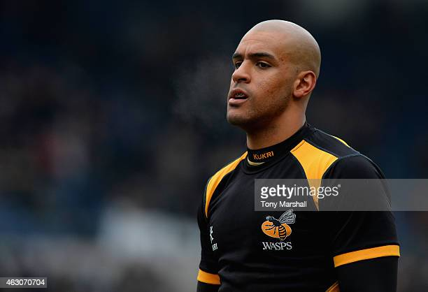 Tom Varndell of Wasps during the LV= Cup match between Northampton Saints and Wasps at Franklin's Gardens on February 7 2015 in Northampton England