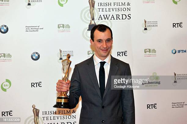 Tom Vaughan Lawlor poses in the Press Room at the Irish Film and Television Awards at Convention Centre Dublin on February 9 2013 in Dublin Ireland