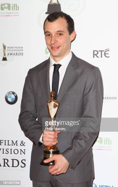 Tom VaughanLawlor poses in the Press Room after receiving the Best TV actor award for his role in 'Love/Hate' at the Irish Film and Television Awards...