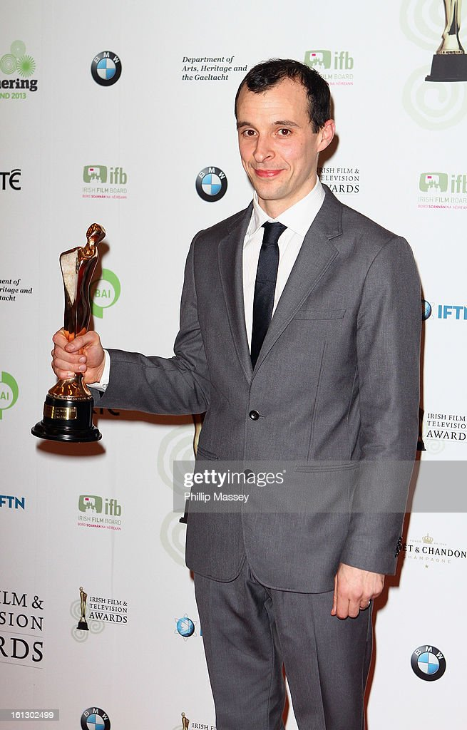 Tom Vaughan-Lawlor poses in the Press Room after receiving the Best TV actor award for his role in 'Love/Hate' at the Irish Film and Television Awards at the Convention Centre Dublin on February 9, 2013 in Dublin, Ireland.