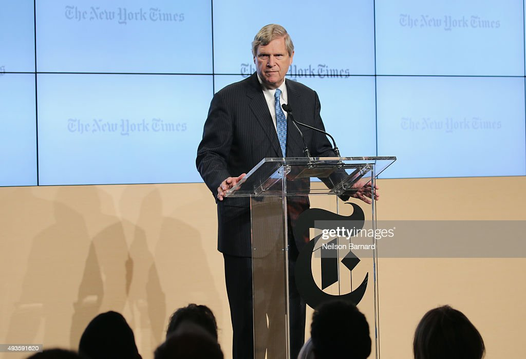 <a gi-track='captionPersonalityLinkClicked' href=/galleries/search?phrase=Tom+Vilsack&family=editorial&specificpeople=681029 ng-click='$event.stopPropagation()'>Tom Vilsack</a>, U.S. Secretary of Agriculture speaks onstage at The New York Times Food For Tomorrow Conference 2015 at Stone Barns Center for Food & Agriculture on October 21, 2015 in Pocantico Hills City.