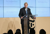Tom Vilsack US Secretary of Agriculture speaks onstage at The New York Times Food For Tomorrow Conference 2015 at Stone Barns Center for Food...