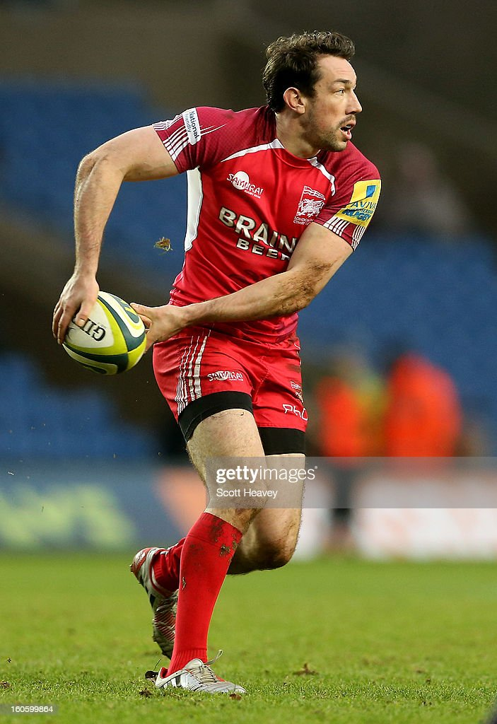 Tom Voyce of London Welsh in action during the LV=Cup match between London Welsh and Newport Gwent Dragons at Kassam Stadium on February 3 2013 in...