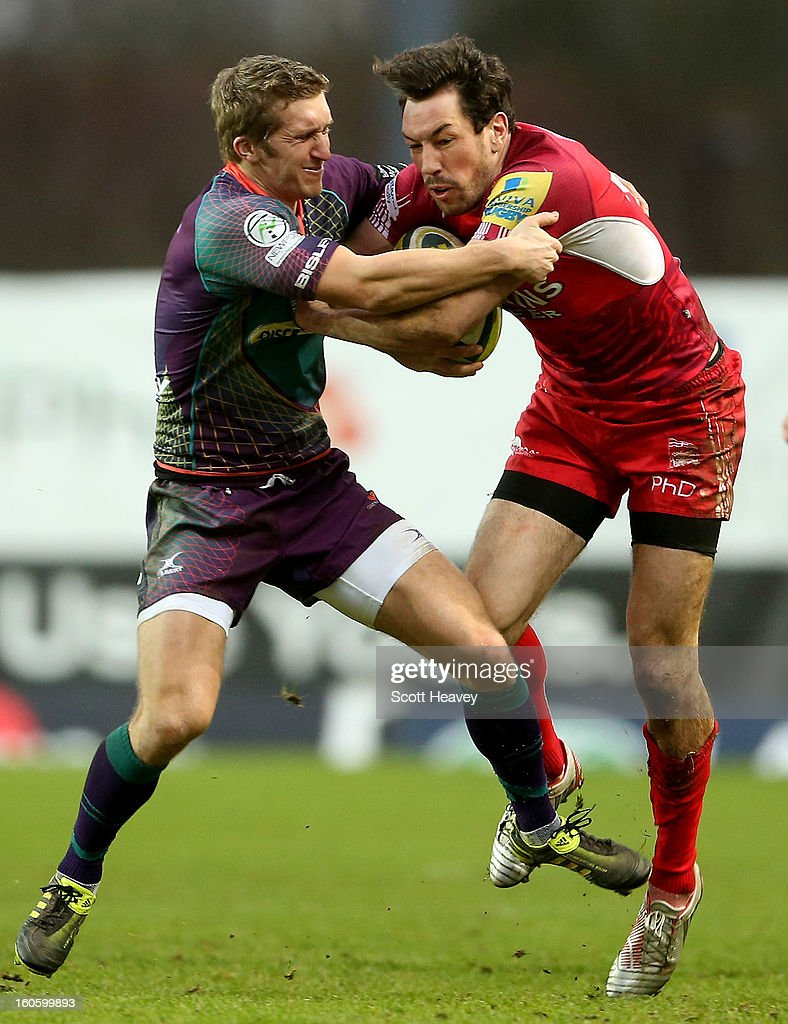<a gi-track='captionPersonalityLinkClicked' href=/galleries/search?phrase=Tom+Voyce&family=editorial&specificpeople=207178 ng-click='$event.stopPropagation()'>Tom Voyce</a> of London Welsh in action with Pat Leach of Newport Gwent Dragons during the LV=Cup match between London Welsh and Newport Gwent Dragons at Kassam Stadium on February 3, 2013 in Oxford, England.