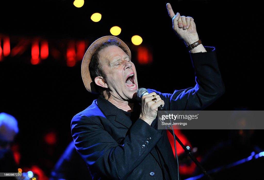 Tom Waits performs on Day 2 of the 27th Annual Bridge School Benefit concert at Shoreline Amphitheatre on October 27, 2013 in Mountain View, California.