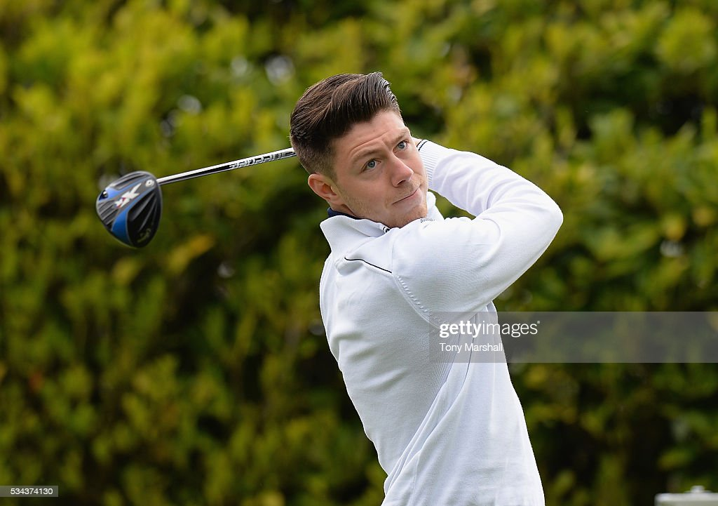 Tom Waldron of Hatchford Brook Golf Club plays his first shot on the 1st tee during the PGA Assistants Championships - Midlands Qualifier at the Coventry Golf Club on May 26, 2016 in Coventry, England.