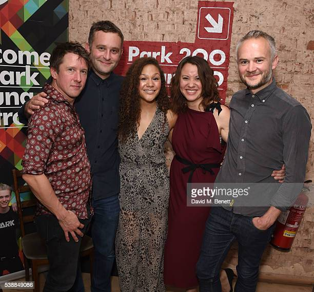 Tom Walker Gareth Farr Allyson AvaBrown Michelle Bonnard and Oliver Lansley attend the press night after party for 'The Quiet House' at Park Theatre...