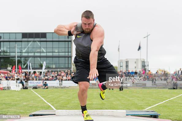 Tom Walsh of New Zealand competes in the Men's Shot Put Final during The Big Shot and Fast K at Retro Sports Facility on February 19 2017 in...