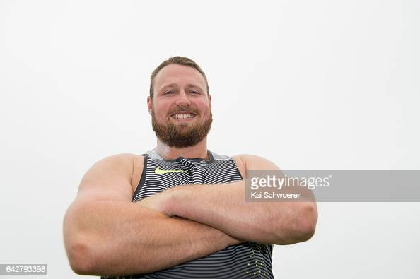 Tom Walsh of New Zealand poses following the Men's Shot Put Final during The Big Shot and Fast K at Retro Sports Facility on February 19 2017 in...