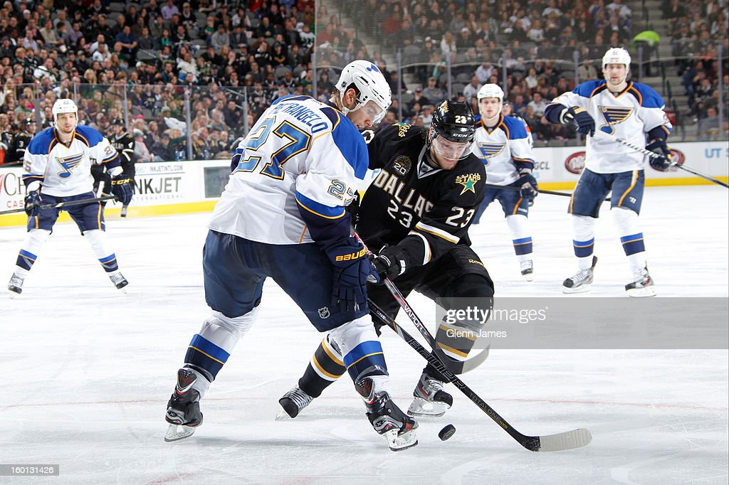 <a gi-track='captionPersonalityLinkClicked' href=/galleries/search?phrase=Tom+Wandell&family=editorial&specificpeople=4537393 ng-click='$event.stopPropagation()'>Tom Wandell</a> #23 of the Dallas Stars tries to keep the puck away against <a gi-track='captionPersonalityLinkClicked' href=/galleries/search?phrase=Alex+Pietrangelo&family=editorial&specificpeople=4072229 ng-click='$event.stopPropagation()'>Alex Pietrangelo</a> #27 of the St. Louis Blues at the American Airlines Center on January 26, 2013 in Dallas, Texas.