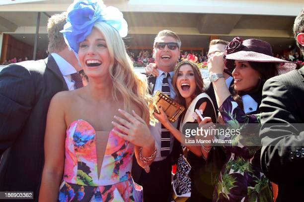 Tom Waterhouse Kate Waterhouse Hoda Waterhouse and Luke Ricketson celebrate as the Gai Waterhouse trained horse Fiorente wins the Melbourne Cup...