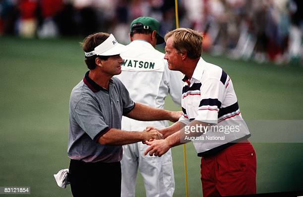 Tom Watson And Jack Nicklaus On The 18th Hole During The 1992 Masters Tournament