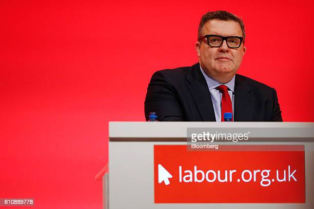 Tom Watson deputy leader of the UK opposition Labour Party looks on during his speech at the party's annual conference in Liverpool UK on Wednesday...