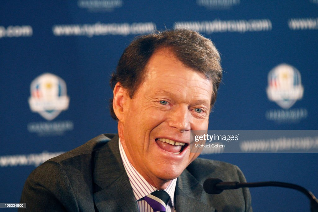Tom Watson has a laugh during the 2014 U.S. Ryder Cup Captain's News Conference held at the Empire State Building on December 13, 2012 in New York City.