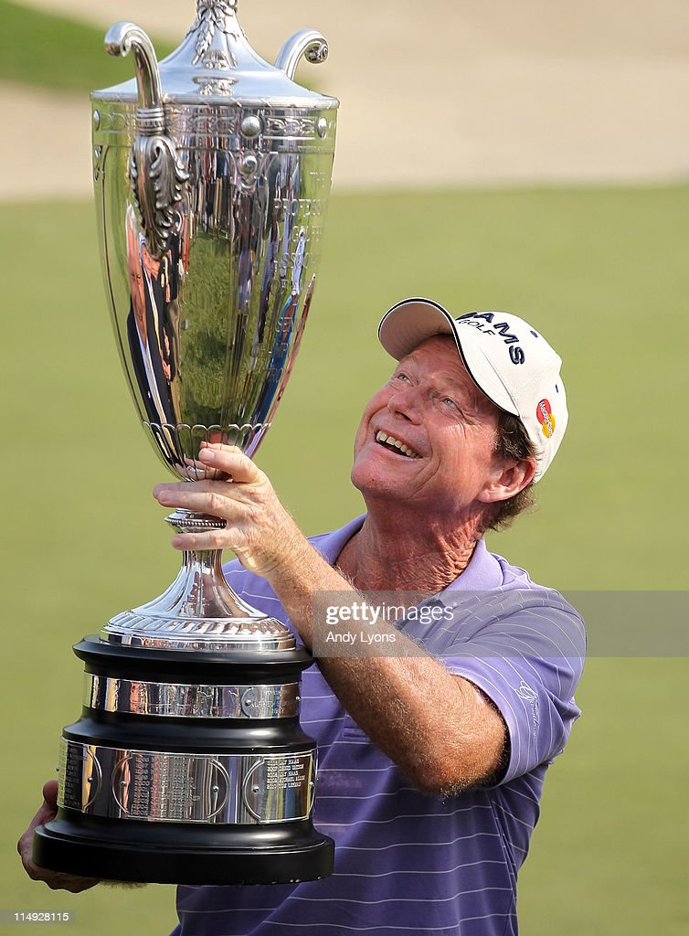 Tom Watson holds the winner's trophy after winning the Senior PGA Championship presented by KitchenAid at Valhalla Golf Club on May 29, 2011 in Louisville, Kentucky.
