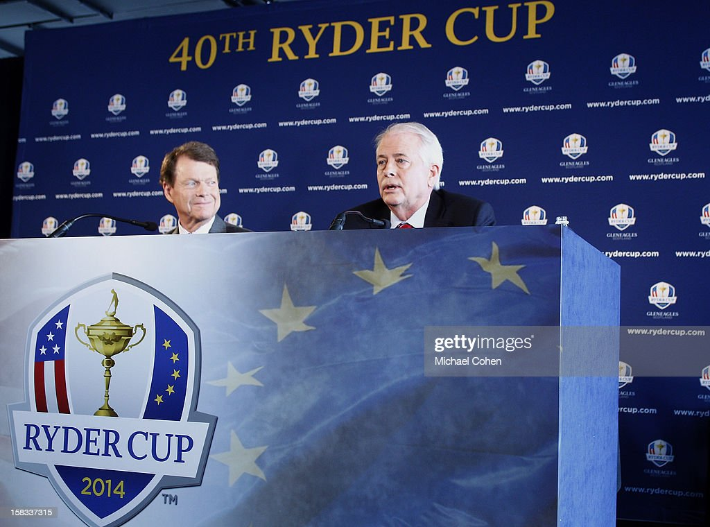Tom Watson (L) looks on as Ted Bishop, President of the PGA of America speaks during the 2014 U.S. Ryder Cup Captain's News Conference held at the Empire State Building on December 13, 2012 in New York City.