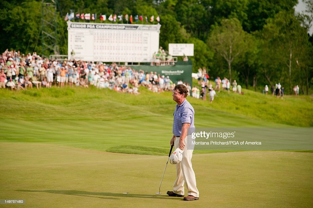 Tom Watson makes a birdie putt during a playoff against David Eger to win the 72nd Senior PGA Championship Presented by KitchenAid at Valhalla Golf Club in Louisville, KY, USA, on Sunday, May 29, 2011.