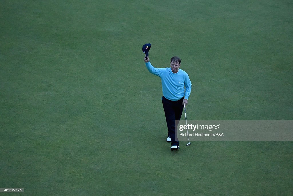 Tom Watson of the United States celebrates after putting on the 18th green during the second round of the 144th Open Championship at The Old Course on July 17, 2015 in St Andrews, Scotland. This is Watson's last Open Championship.