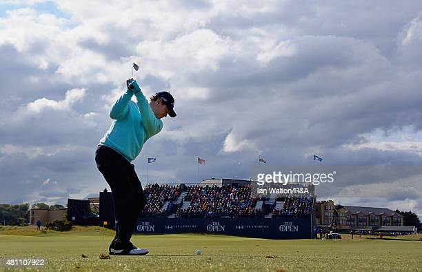 Tom Watson of the United States hits his second shot on the first hole during the second round of the 144th Open Championship at The Old Course on...