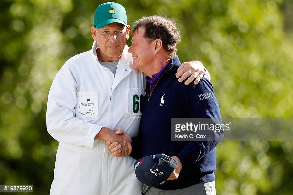 Tom Watson of the United States hugs his caddie Neil Oxman after completing the second round of the 2016 Masters Tournament at Augusta National Golf...