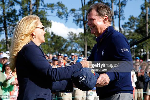 Tom Watson of the United States hugs his wife Hilary after completing the second round of the 2016 Masters Tournament at Augusta National Golf Club...