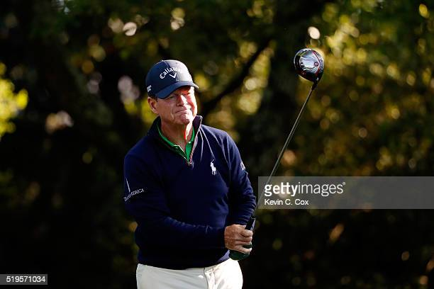 Tom Watson of the United States plays his shot from the second tee during the first round of the 2016 Masters Tournament at Augusta National Golf...