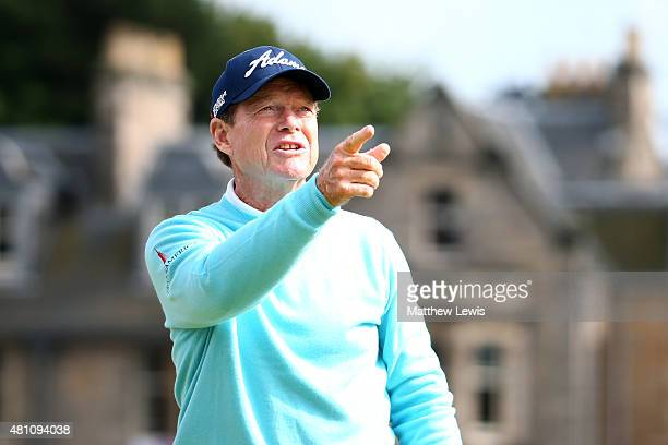 Tom Watson of the United States points from the 2nd tee during the second round of the 144th Open Championship at The Old Course on July 17 2015 in...