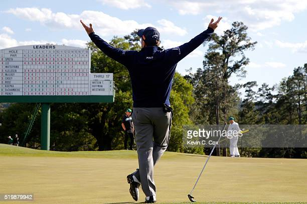 Tom Watson of the United States reacts after almost making a birdie putt on the 18th green during the second round of the 2016 Masters Tournament at...