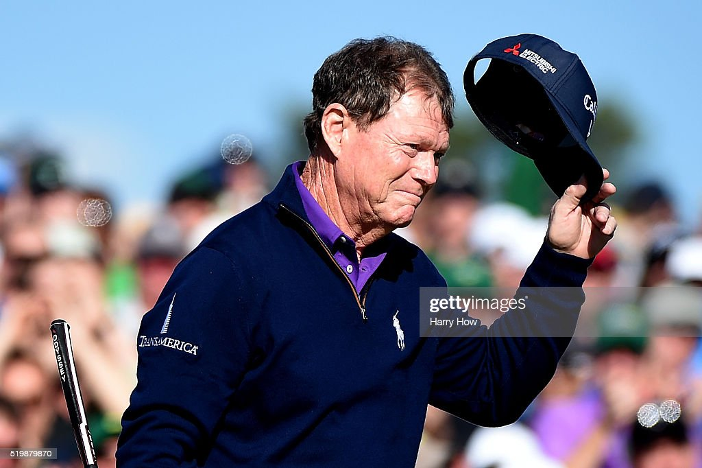 Tom Watson of the United States reacts after completing the second round of the 2016 Masters Tournament at Augusta National Golf Club on April 8, 2016 in Augusta, Georgia.