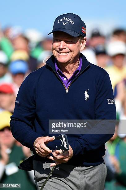 Tom Watson of the United States reacts after completing the second round of the 2016 Masters Tournament at Augusta National Golf Club on April 8 2016...