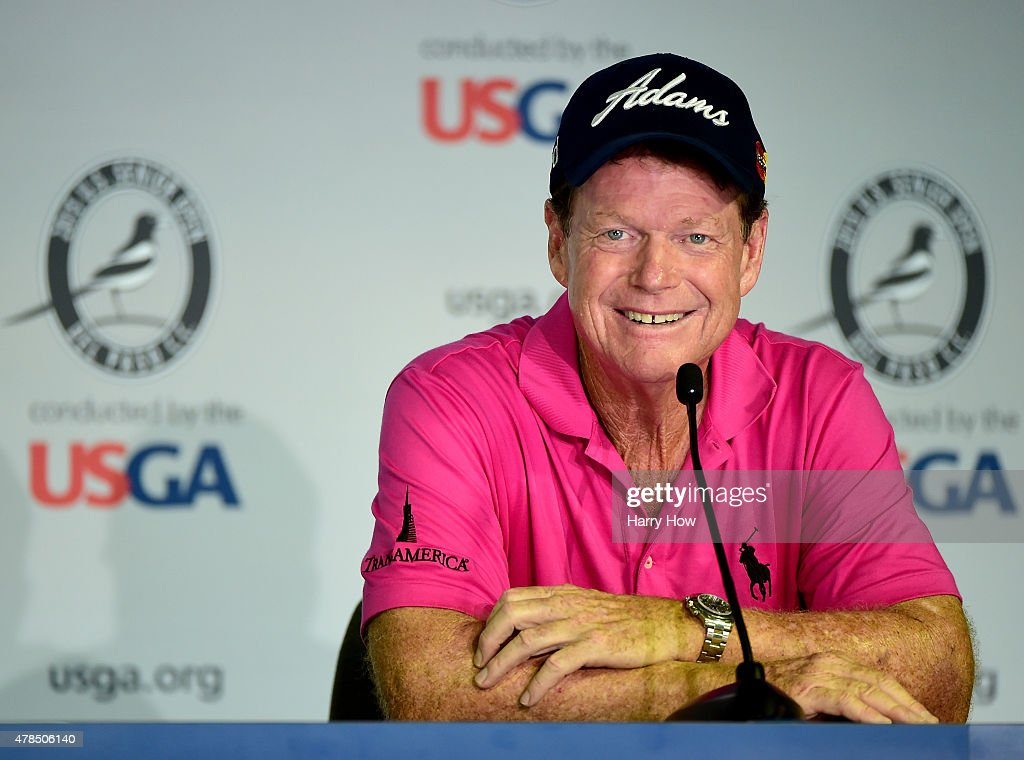 Tom Watson of the United States smiles as he speaks to the media after a round of 66 to finish 4 under par during round one of the U.S. Senior Open Championship at the Del Paso Country Club on June 25, 2015 in Sacramento, California.